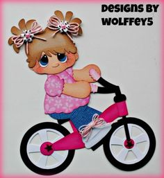 GIRL BIKE paper piecing premade scrapbook page die cut album Diy And Crafts, Crafts For Kids, Paper Crafts, Baby Scrapbook Pages, Scrapbook Paper, Summer Fun For Kids, Paper Piecing Patterns, Scrapbook Embellishments, Vintage Dolls
