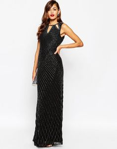 ASOS | ASOS RED CARPET Delicate Beaded Keyhole All Over Embellished Maxi Dress at ASOS