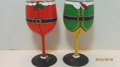 Pair Of Santa and Elf Christmas Painted Wine Glasses. $65.00, via Etsy.