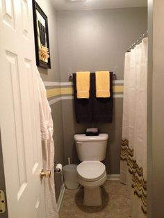 yellow and gray bathroom ideas | Grey and yellow bathroom makeover.