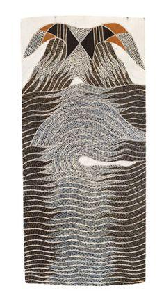 © Gunybi Ganambarr: Tsunami over Yindiwirryun (natural earth pigments on bark) Aboriginal Dot Painting, Aboriginal Artists, Earth Pigments, Yayoi Kusama, Famous Art, Fashion Painting, Indigenous Art, Naive Art, Natural Earth