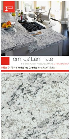 Remodeling Kitchen Countertops White Ice Granite in Artisan™ finish is one of the introductions to the 2015 Formica® Laminate Residential Collection. Looks great as part of a classic or modern kitchen. Formica Kitchen Countertops, Kitchen Countertop Materials, White Laminate Countertops, Paint Countertops, White Ice Granite, Up House, House Bar, Home Remodeling, Kitchen Remodeling
