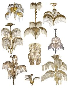 Variations Of French Elegance: Bronze & Brass Palm Frond Chandeliers Chandelier Picture, Art Deco Chandelier, Chandelier Lighting, Vintage Chandelier, Lampe Art Deco, Interior And Exterior, Interior Design, Design Design, Design Table