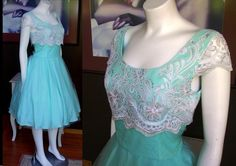 Vintage 1980s does 1950s Aqua blue prom dress with white lace attached crinolilne excellent condition Mad Men Lucy Larger Size by WestCoastVintageRSL, $112.00