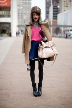 We love this girl's whimsical approach to layers punctuated by pink.