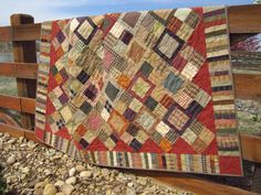 Handmade Quilt Homespun Cabin by PatchworkMountain on Etsy
