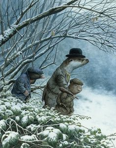 Chris Dunn Illustration - 'Leaving The Wild Wood'  Ratty, Mole and Mr Otter leave Mr Badger to set out for home.