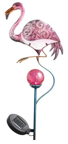 Give our Solar Flamingo Stake time in the sun for a colorful display