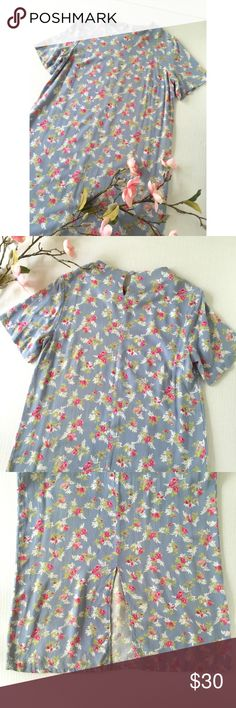 Vintage Floral Midi Shift Dress Lovely floral pattern with pink flowers on a baby blue background.  In excellent vintage condition. Vintage Dresses Midi