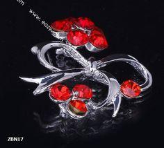4x4cm Ruby Noble Flower Bowknot Crystal Breastpin Hair brooch Rhinestone