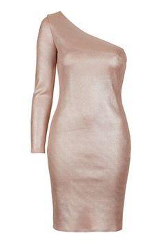 One Shoulder Foil Mini Dress