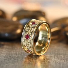 Celtic Wedding Ring Princess Cut Ruby Wedding Band 14k Yellow Gold 8mm Men Ruby Ring Celtic Knot Ring (Other Metals & Stones Available)