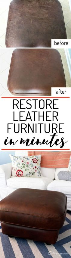 Learn How to Restore Leather Furniture WOW! I had no idea how to restore leather furniture but this makes it look so easy. I can't wait to try it on my couch! The post Learn How to Restore Leather Furniture appeared first on Upholstery Ideas.