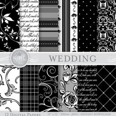 """BODA blanco y negro papel Digital paquete patrón impresiones, Instant Download, 12 """"x 12"""" patrones fondos Scrapbook impresión"""