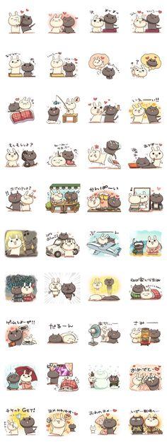 Shiro the rabbit & kuro the cat - LINE 個人原創貼圖