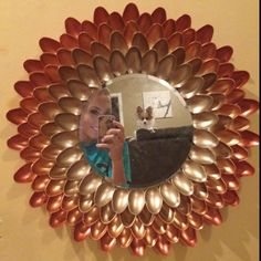 Mirror I made out of plastic spoons.