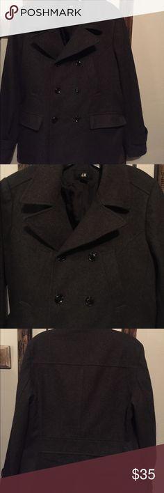 Men's pea coat Charcoal colored pea coat! Mint condition! Wool blend! H&M Jackets & Coats Pea Coats