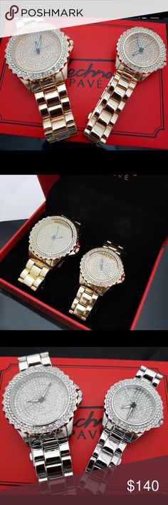 COUPLES MATCHING LUXURY WATCH SET HIS & HERS GIFTS NEW IN BOX Hip Hop Iced Out Luxury Gold, Silver, Rose Gold Finish Couple Watch Gift Set   Watch: 100% brand new Lab diamonds on Face & Bezel Stainless Steel back Color : Gold, Silver, Rose Gold Movement: Quartz Japan Battery included. Case Size : 46mm (Diameter) Weight: 157 grams Lock: Fold Over  Gender: Men's & Womens Removable Links (Adjustable) Luxury style Red Gift box for Couple Watch set  I CAN ALSO SELL SEPARATELY. This listing is for…