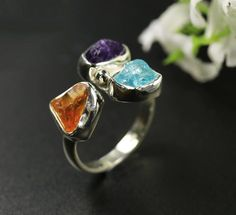 Natural Rough Gemstone Sterling Silver Citrine | Amethyst Ring Size M 7 Fine Jewelry, Jewelry Rings, Unique Rings, Natural Gemstones, Amethyst, Gemstone Rings, Sterling Silver, Pearl, Free Shipping