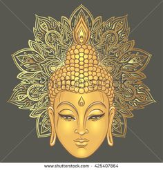 Buddha over ornate mandala round pattern. Vector illustration. Vintage decorative composition. Indian, Buddhism, Spiritual motifs. Tattoo, yoga, spirituality.