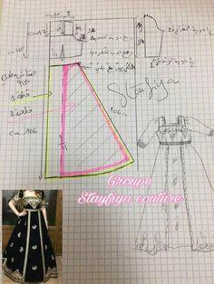 Dress Making Patterns, Easy Sewing Patterns, Doll Patterns, Clothing Patterns, Couture Sewing, Dress Tutorials, Abaya Fashion, Pattern Illustration, Sewing Clothes