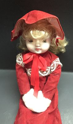 Vintage porcelain doll victorian style red velvet dress fur hand warmers Taiwan by Bayleesncream on Etsy