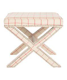 Look at this #zulilyfind! Taupe & Red Checkerboard Gwenyth Ottoman by Safavieh #zulilyfinds