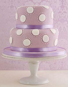 Lilac Polka Dotted Wedding Cake