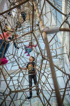 Kids climbing up inside giant multi floor rope climbing net at Swarovski Crystal World Playground Design, Outdoor Playground, Natural Playground, Playground Ideas, Swarovski Crystal World, Kids Climbing, Rock Climbing, Indoor Climbing, Cool Playgrounds
