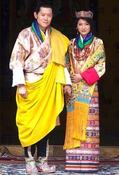 Buthan Royal couple in traditional dress