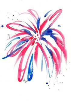 omg omg omg    Firework original watercolor painting 4x6 inches. $20.00, via Etsy.