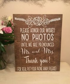 Welcome unplugged Wedding Sign -No Photos -Wedding Decor-Funny wedding sign-stained wood- wedding sign-Mr Mrs-painted-Rustic Decor by ByMeSherrieMarie on Etsy Funny Wedding Signs, Unplugged Wedding Sign, Rustic Wedding Signs, Wedding Humor, Wedding Signage, Funny Signs, Event Signage, Wedding Planning Tips, Wedding Tips