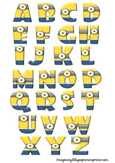 Letters of the alphabet with minions to print Minion Party Theme, Despicable Me Party, Minions Despicable Me, Minion Birthday, Boy Birthday, Party Themes, Happy Birthday, Bolo Minion, Alphabet