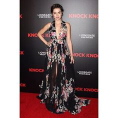 Actress Ana de Armas looked beautiful yesterday evening as she attended the Los Angeles premiere of her movie Knock Knock wearing a long flared dress with embroidery on floral printed mikado and georgette from Zuhair Murad's Resort 2016 Ready-To-Wear Collection.