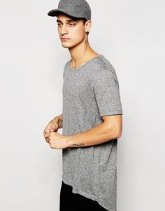 ASOS Super Longline T-Shirt With Scoop Back Hem In Slub Fabric