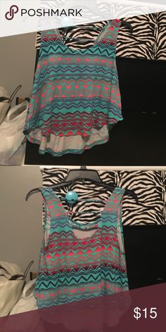Teal, purple, red, and pink tank top/crop top -teal, purple, pink, red, Aztec Charlotte Russe Tops Tank Tops