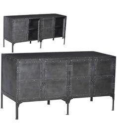 Gun Metal Finished Sideboard Cabinet With Rivet Detailing. At Mix Furniture,  Los Angeles