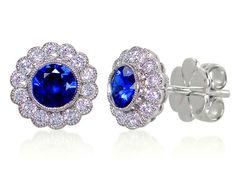 Sapphire & Diamond 18ct Hallmarked White Gold Studs by StartJewellery on Etsy