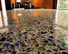 Recycled glass countertops, love it!