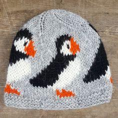 Grey Puffin Wool Hat - Handknitted in Iceland with Icelandic wool #puffin #iceland #icelandicwool