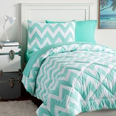 PB Teen Zig Zag Stripe Value Comforter Set, Twin, Pool ($119) ❤ liked on Polyvore featuring home, bed & bath, bedding, comforters, chevron comforter, stripe comforter, twin comforter sets, twin comforter and full/queen comforter set