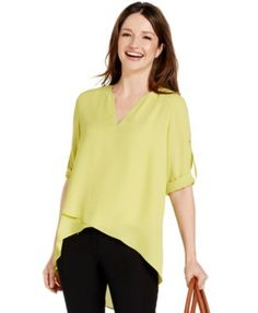 Alfani Tab-Sleeve High-Low Blouse, Only at Macy's