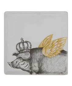Take a look at this Flying Pig Ceramic Plate today! Zen Home Decor, Piggly Wiggly, Plates For Sale, Home Garden Design, This Little Piggy, Flying Pig, Creative Co Op, Ceramic Plates, Decorative Items