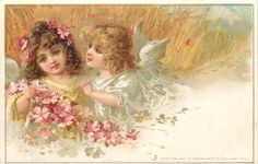 summer, two fairies with pink blossom, barley behind