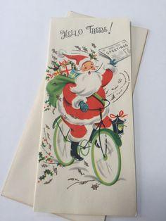 Vintage Holiday Christmas Greeting Card - Newspaper Delivery Santa on Bicycle - Glitter - Christmas Card Unused with Envelope - Slim Jim
