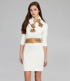 Sequin Hearts Belted Sweater Dress would look so cute with some brown shoes! Modern Fashion, Fashion Ideas, Summer Breeze, Brown Shoe, Dillards, Dress To Impress, Designer Dresses, Dresses For Work, Sequins