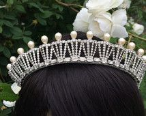Vintage tiara - bridal crown- Art deco headpiece - bridal headdress - Downton Abbey tiara - Royal wedding tiara