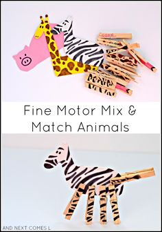 Mix & Match foam animals: fine motor busy bag idea for kids from And Next Comes L