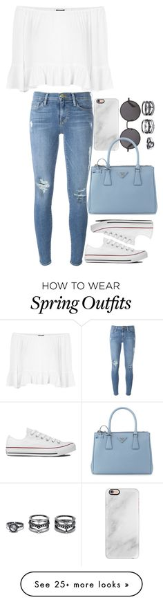 """""""spring outfit"""" by ariaaax on Polyvore featuring Topshop, Frame Denim, The Row, Casetify, Converse, LULUS and Prada"""