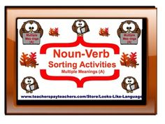 Noun-Verb Sorting (Multiple Meanings A)- Give your students strategies for differentiating nouns from verbs using this FREE sort board from Looks-Like-Language!